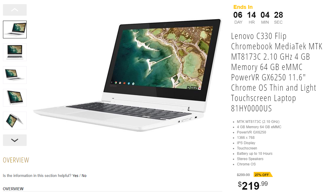 Lenovo's excellent C330 Flip Chromebook is down to $220 ($80 off)