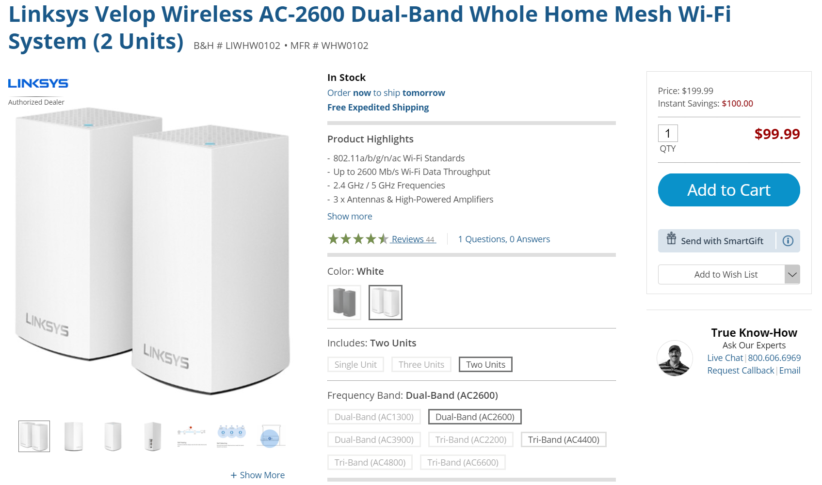 Linksys Velop 2-pack mesh Wi-Fi is $100 (50% off) on B&H