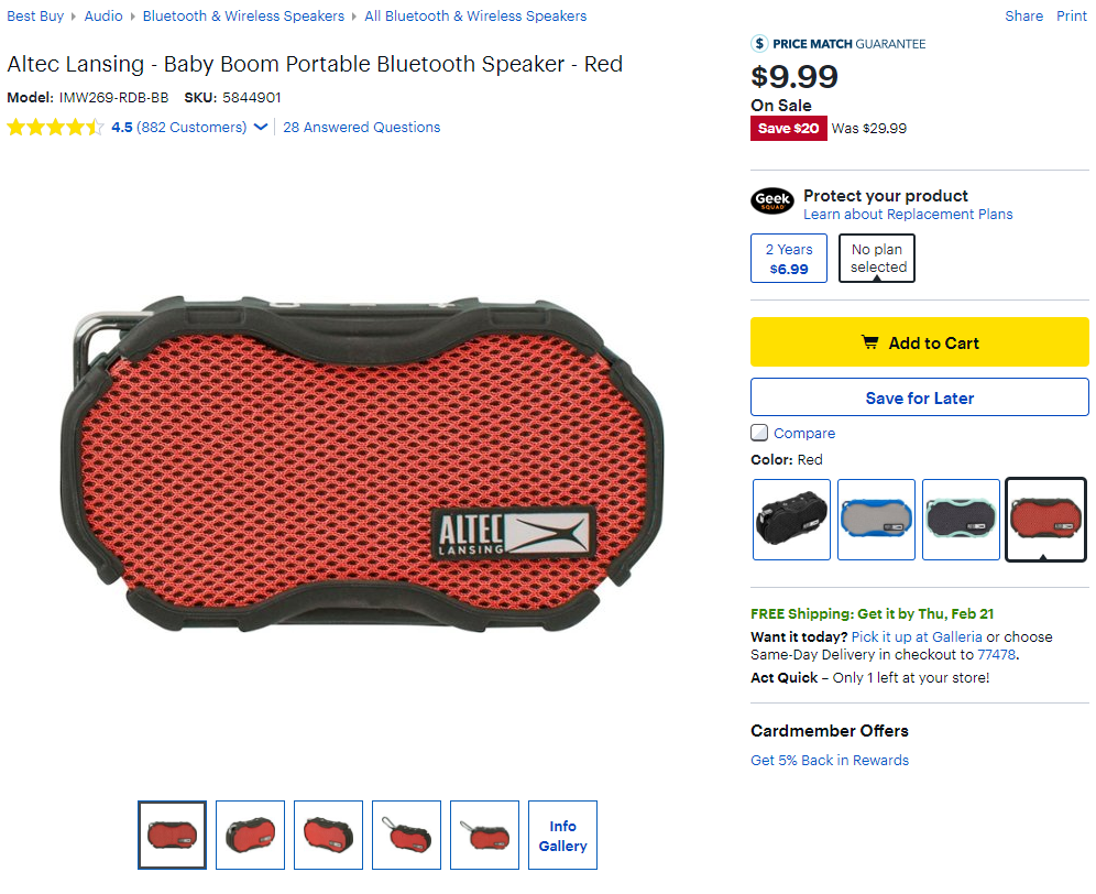 Grab an Altec Lansing Baby Boom speaker for just $10 ($20 off) at