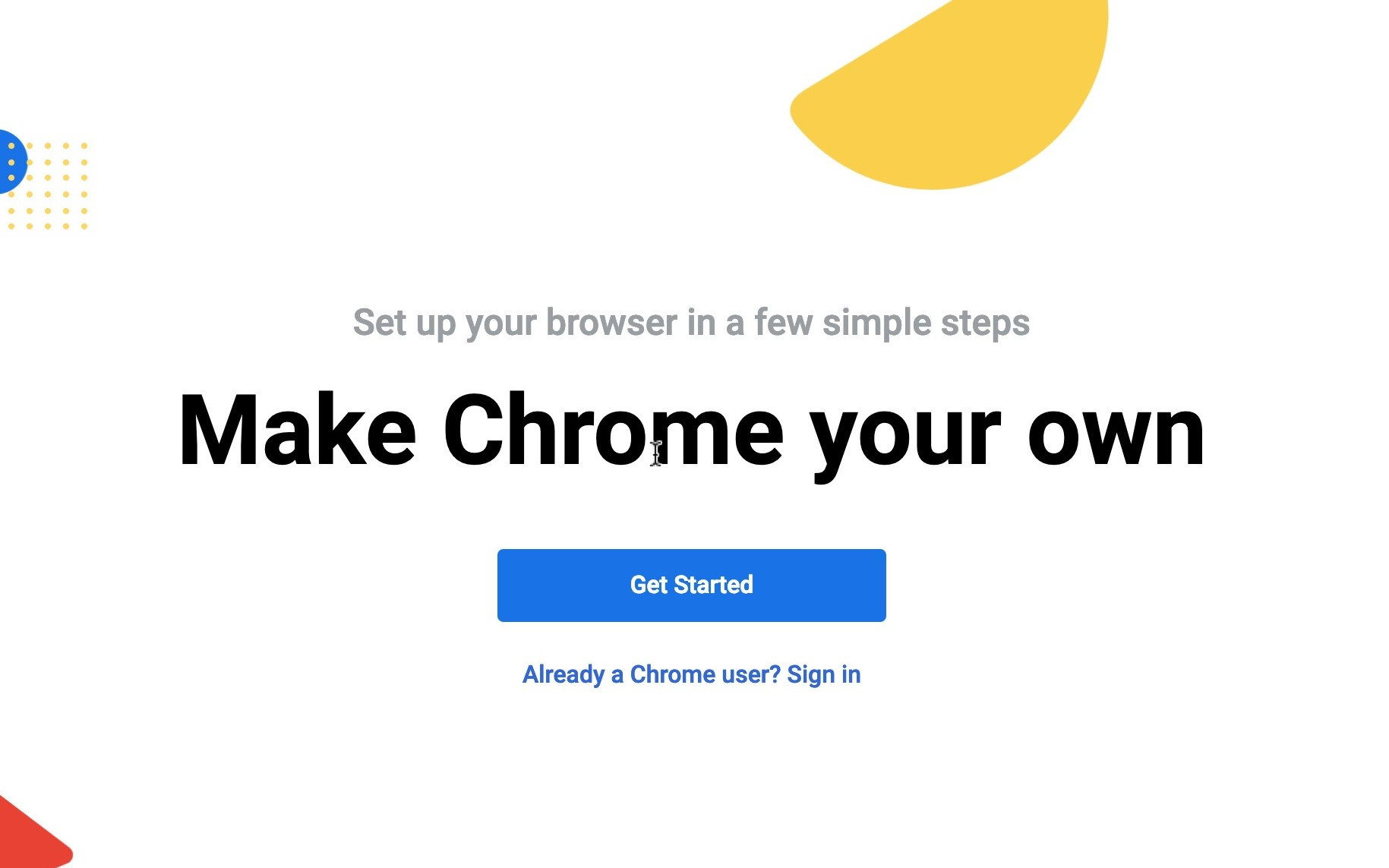 Chrome testing colorful new setup screen to welcome aboard users