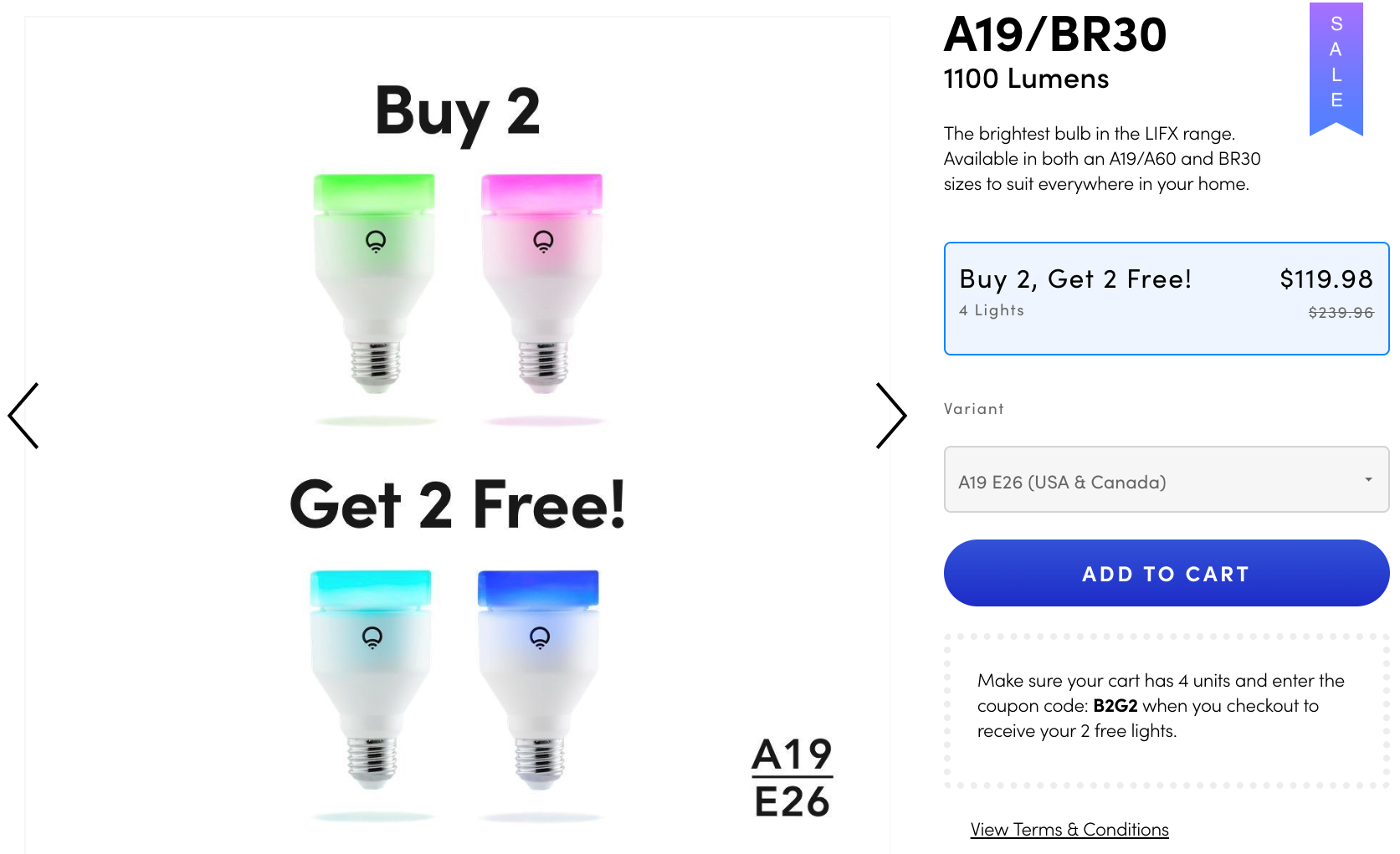 Get 4 LIFX smart color bulbs for the price of 2 in the US, EU, and