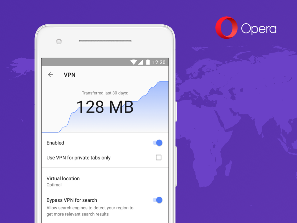 Opera's Android browser now includes a free VPN