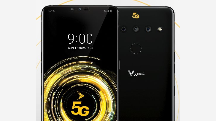 [Update: Higher-res image] Sprint's LG V50 ThinQ reminds you about its 5G capabilities with an unsightly yellow logo on the back