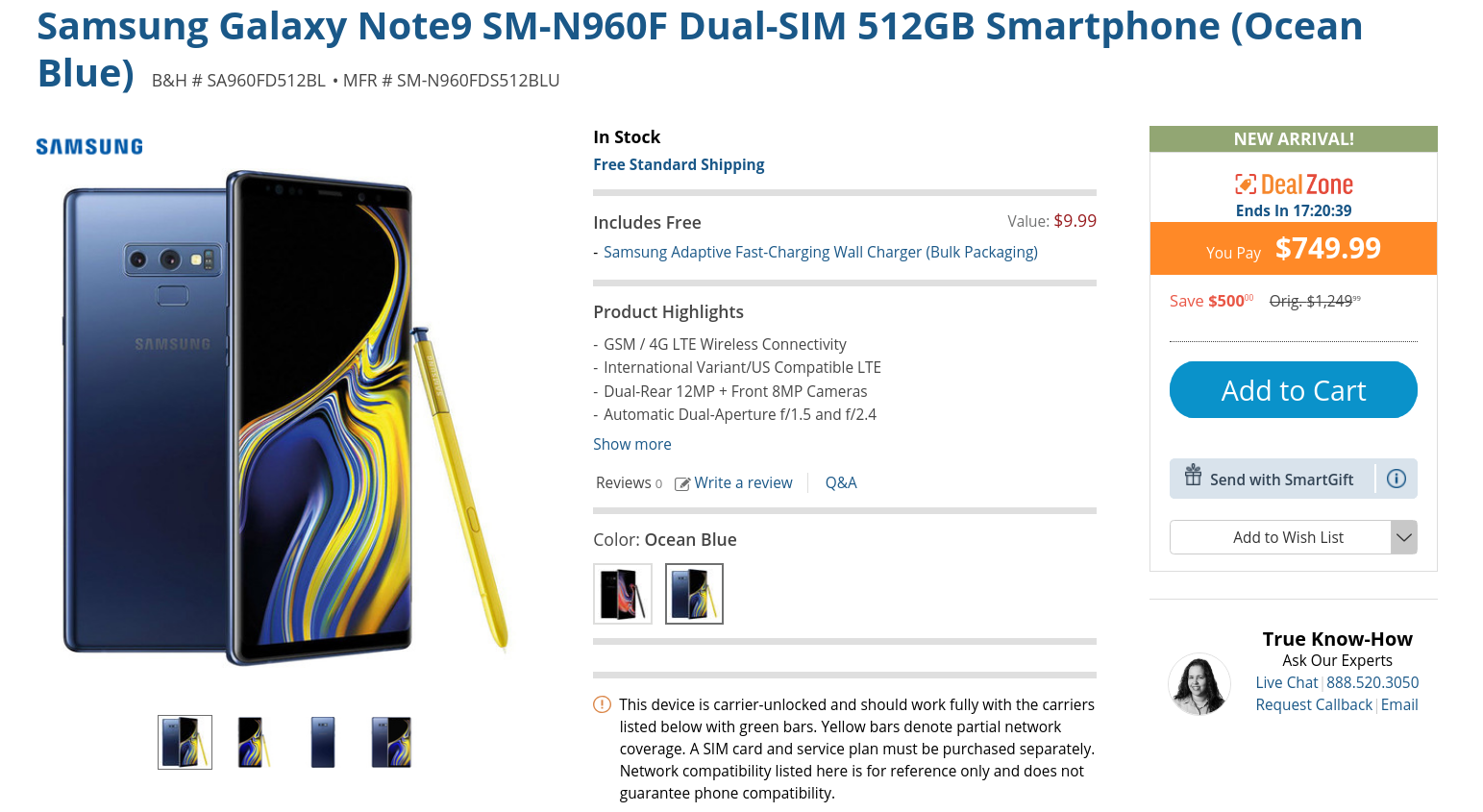 Today only: 512GB dual-SIM Samsung Galaxy Note9 is $750