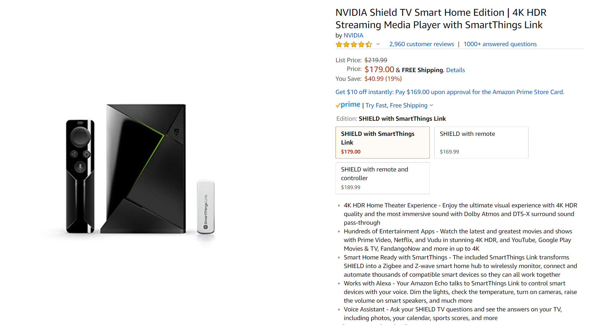 Nvidia Shield TV and SmartThings Link bundle drops to $179 ($41 off)