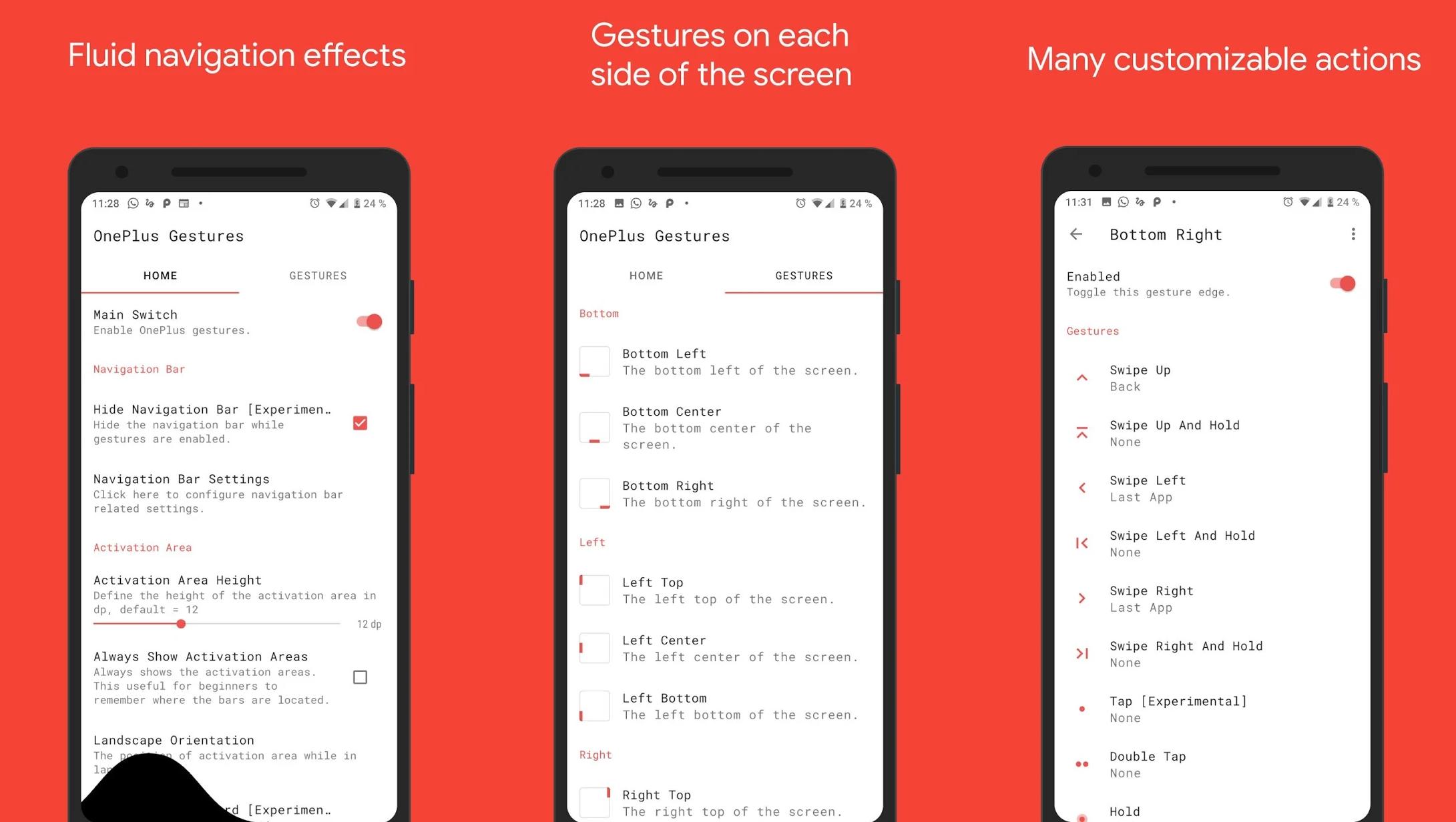 One + Gestures 2 0 update brings new gesture areas and types, visual