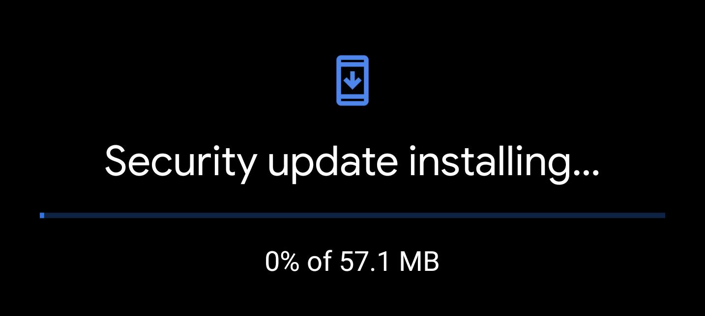 The Pixel update screen now has dark mode, shows progress percentage