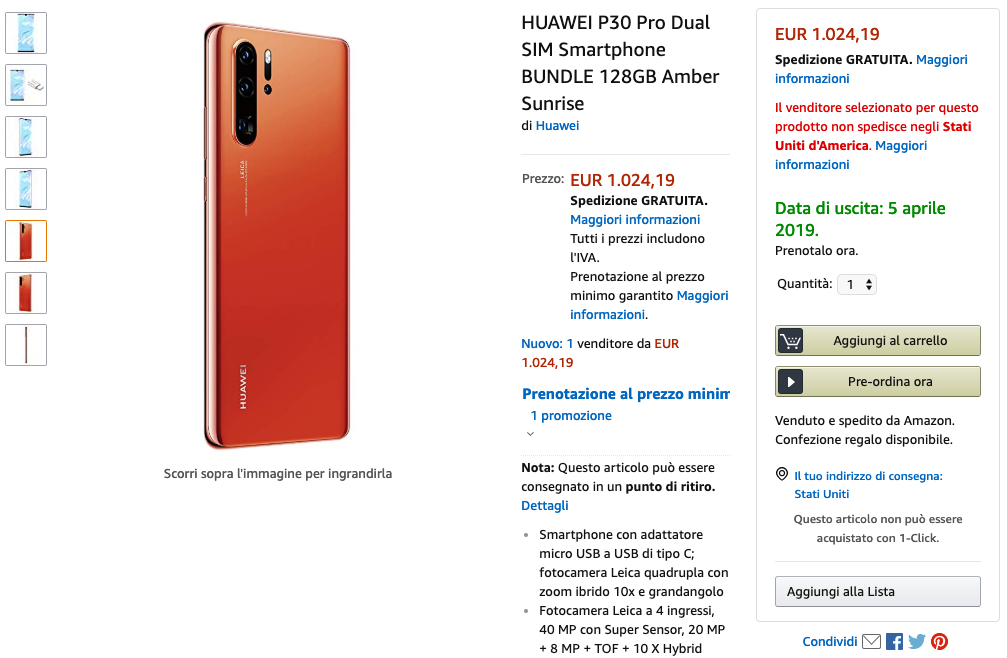 [Update: Official renders] Huawei P30 Pro listed early by Amazon Italy, confirming specs such as 10x Hybrid Zoom