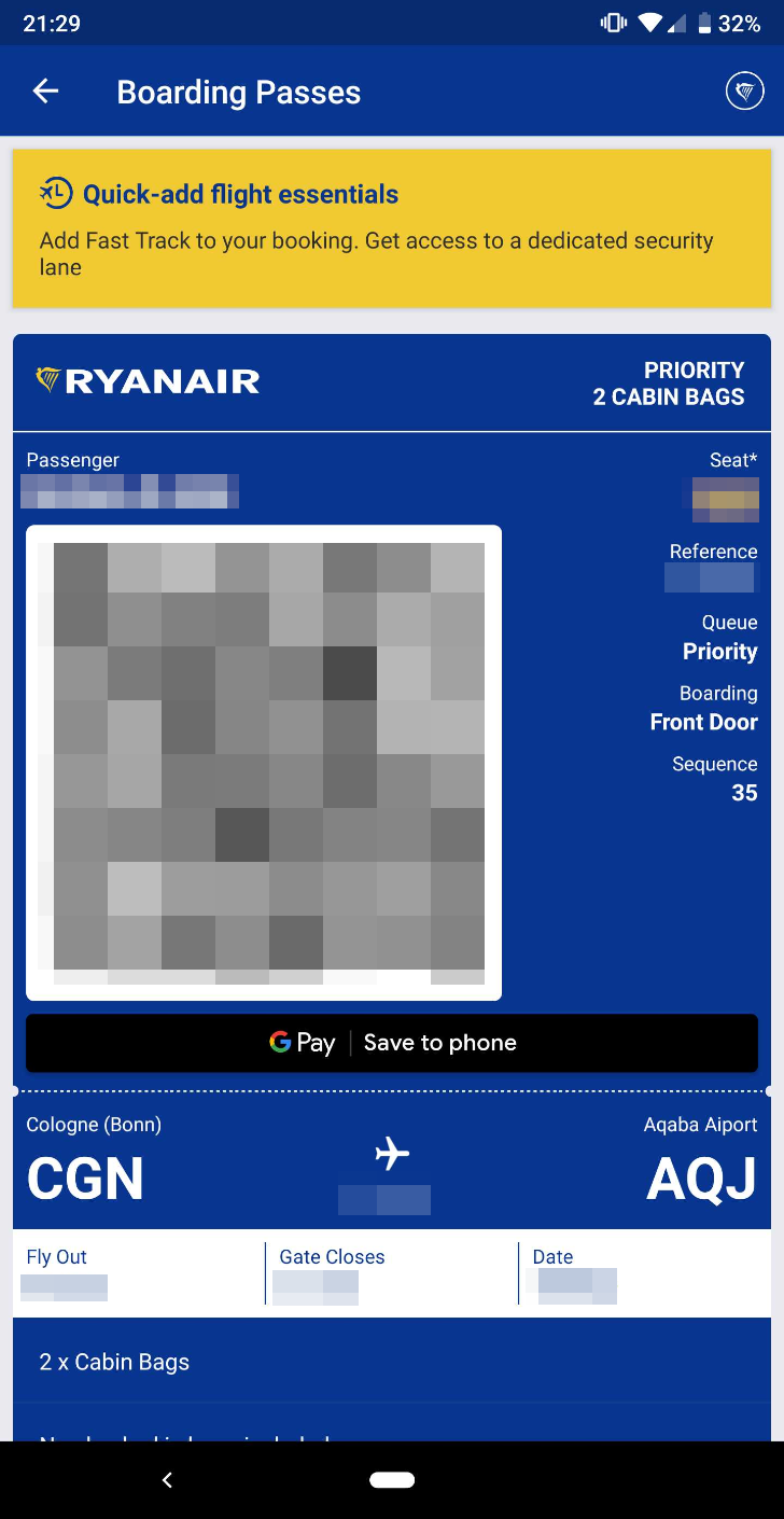 [Update: Lufthansa too] Ryanair boarding passes can now be saved to Google Pay