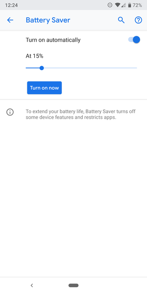 Android Q can automatically activate Battery Saver based on