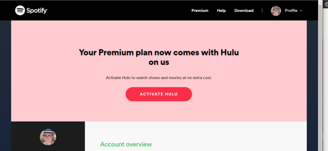 update working for existing subs new spotify premium subscribers now get hulu for free. Black Bedroom Furniture Sets. Home Design Ideas