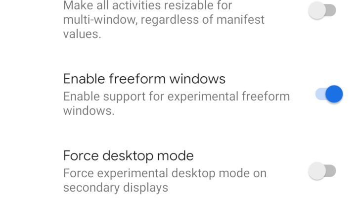 Freeform windows can be enabled in Android Q without hacks
