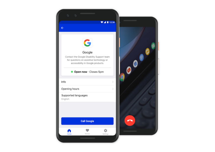 Google's Disability Support functionality is displayed on a phone screen