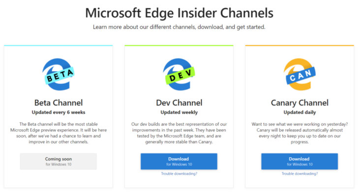 Microsoft releases first builds of Chromium-based Edge browser