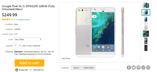 First-gen Pixel XL (128GB) on sale for $250 today on Woot, Next TGP