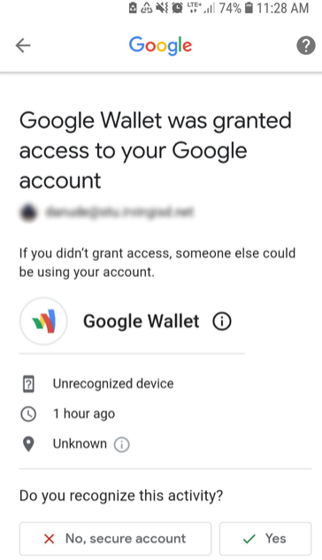 Fake Google Wallet is being granted access to Google Accounts