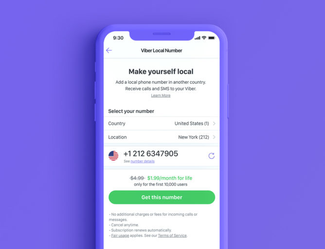 Viber lets you get a US, UK, or Canadian number for people