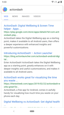 Action Launcher v40 adds improved device and web search