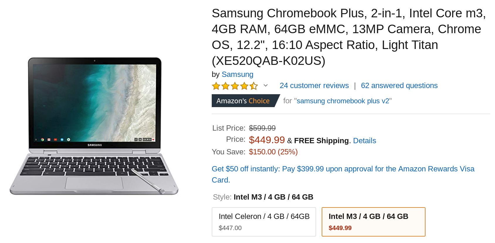 Get a Core m3 Samsung Chromebook Plus V2 for $450 ($150 off)