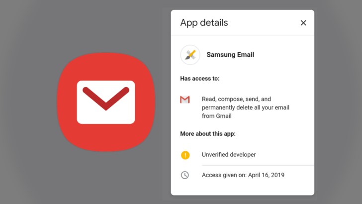 Don't panic: Emails about Samsung Email accessing your Gmail
