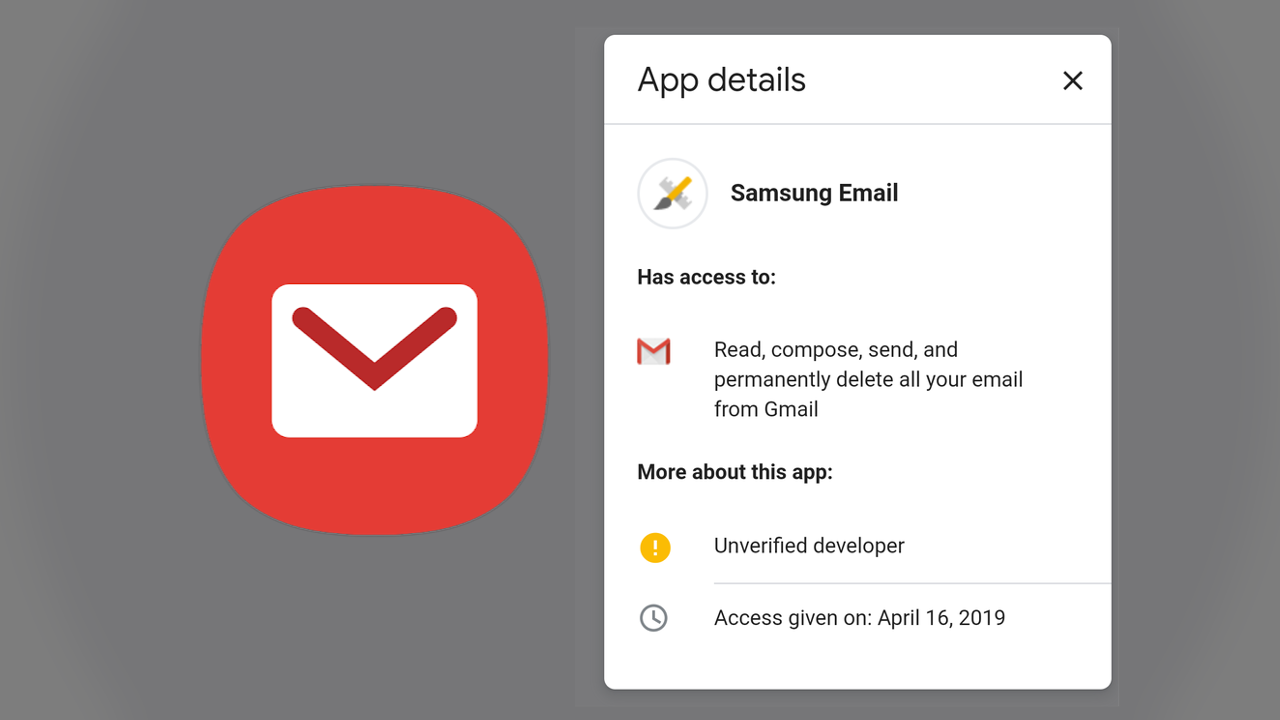 Don't panic: Emails about Samsung Email accessing your Gmail are