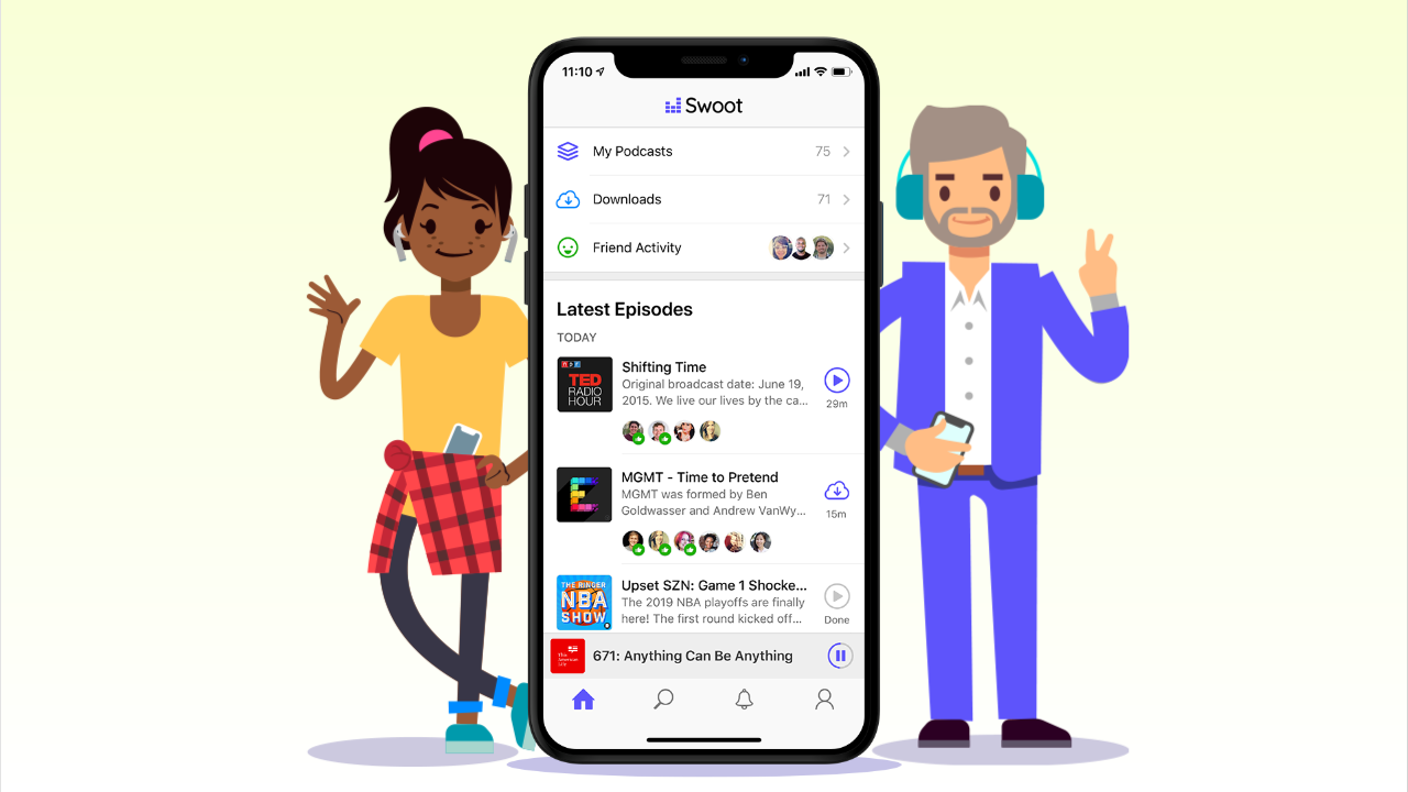 Swoot is a podcast app to hear what all your friends are listening to