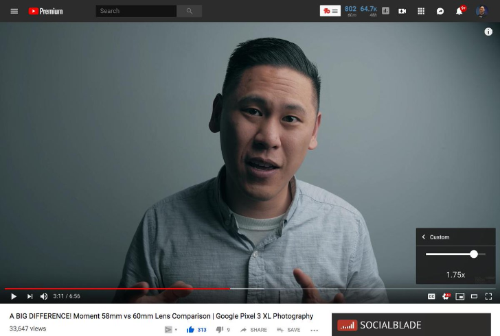 QnA VBage YouTube is testing custom playback speed controls in 0.05x increments