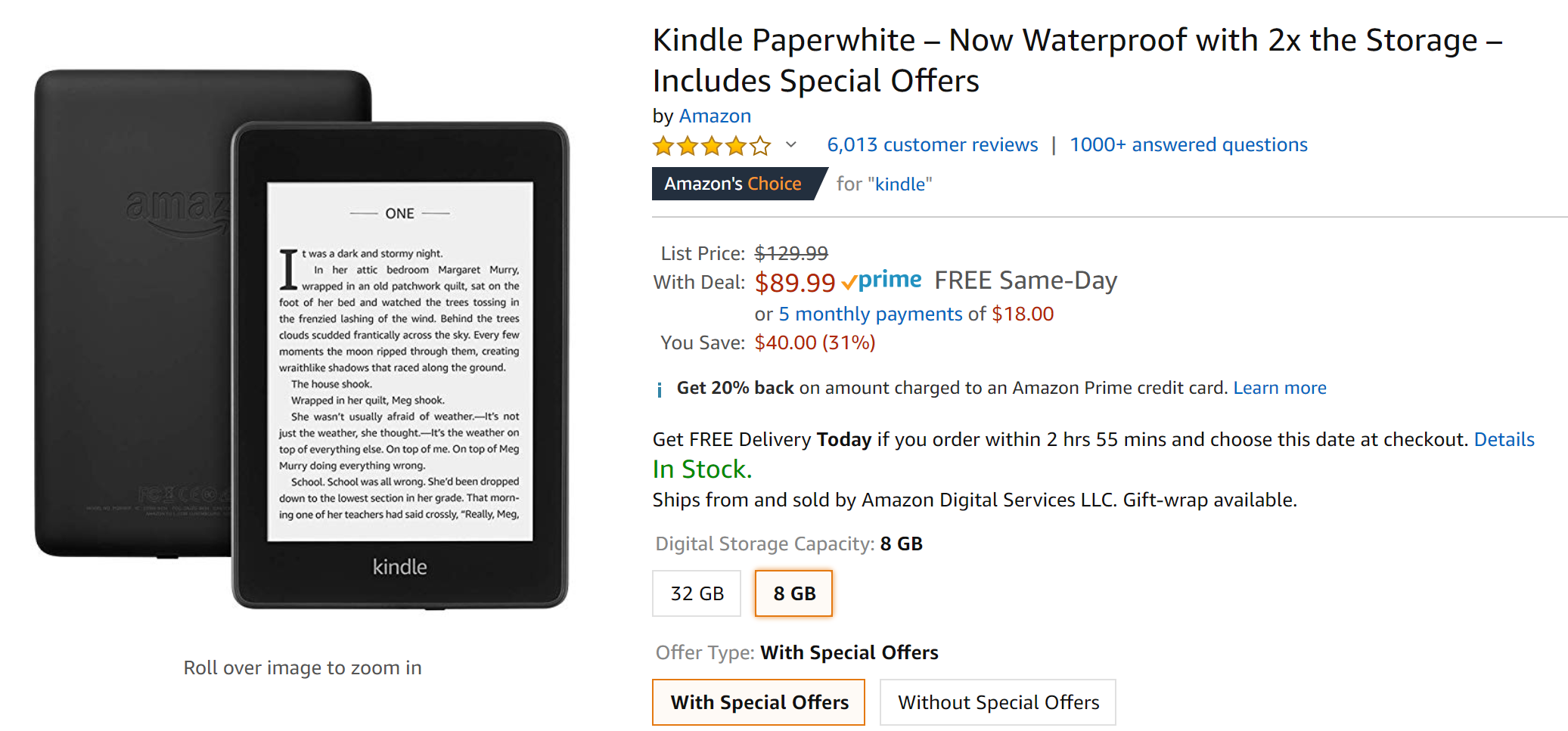Waterproof Kindle Paperwhite is back at $90 ($40 off), get