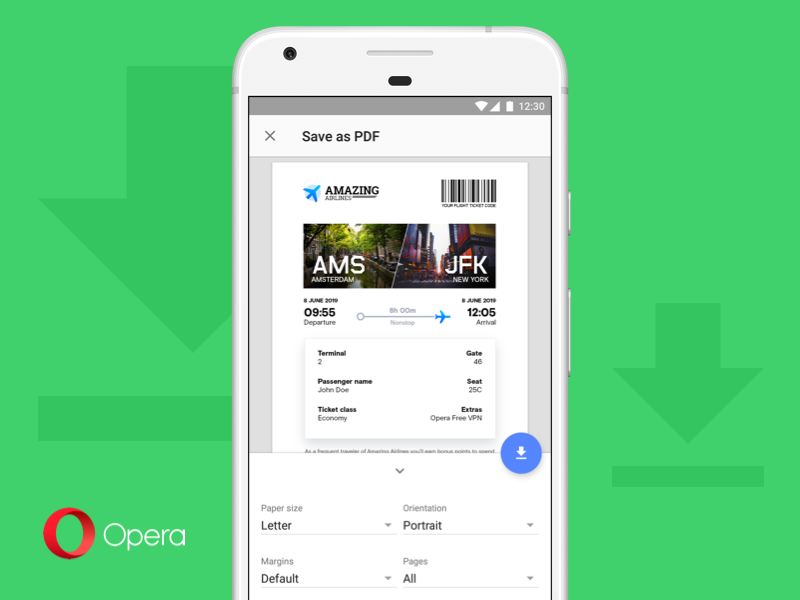 Opera 52 lets you save pages as PDF and brings other minor