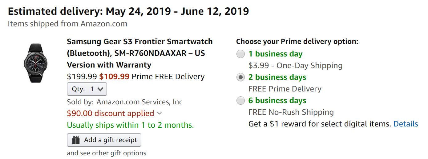 Update: Dead] Samsung Gear S3 Frontier down to just $110