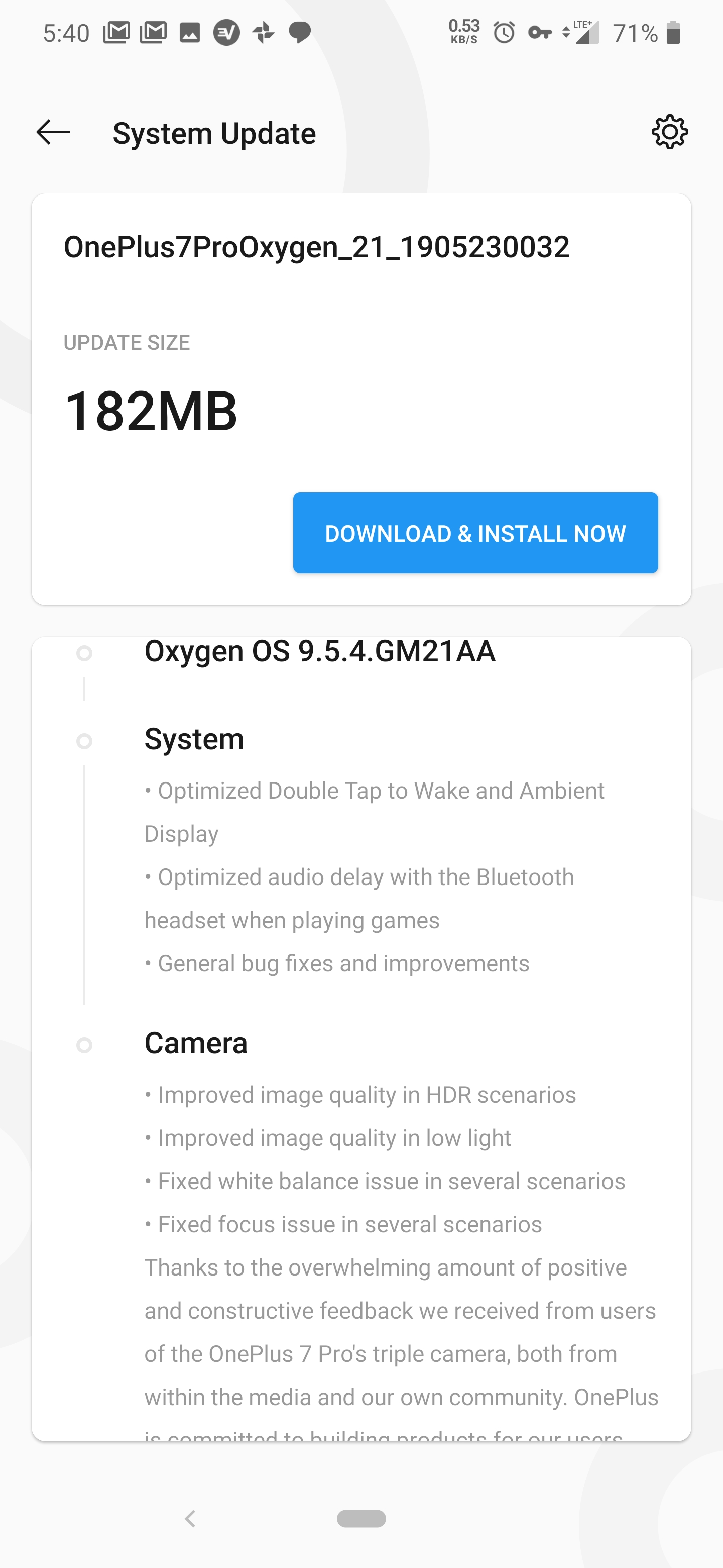 OxygenOS 9.4.5 for OnePlus 7 Pro