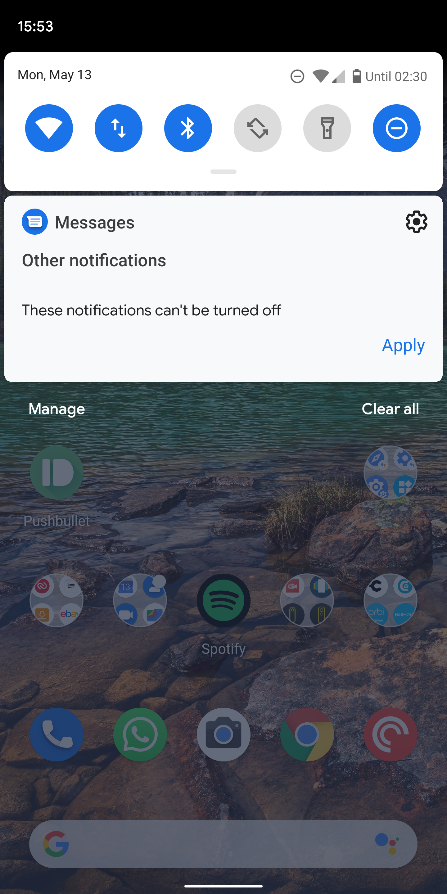 You can't silence or block notifications for Messages on Android Q