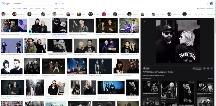 Google Images experiments with dark, right-sided preview panel