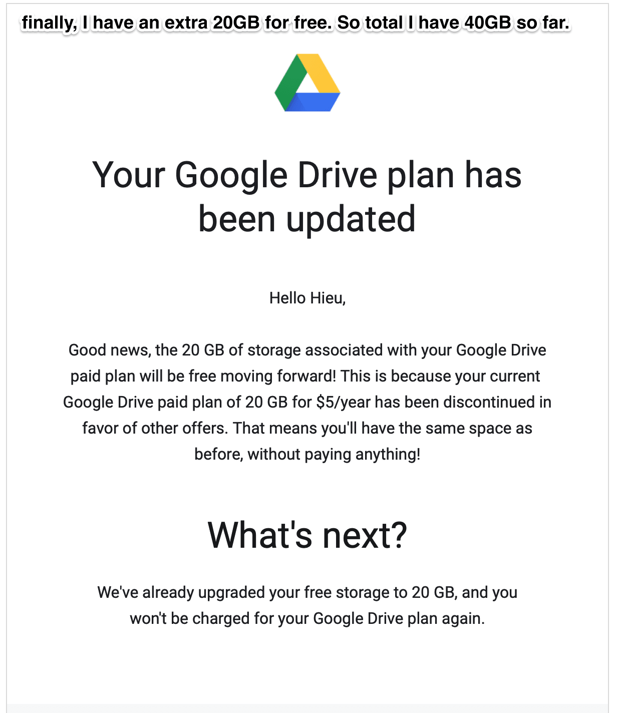 Google Drive's grandfathered 20GB plan price drops from $5 a year to free