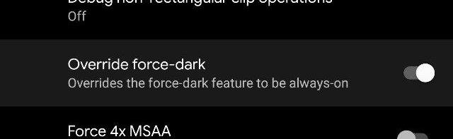 [Update: Back in Beta 5] Android Q Beta 3 adds developer option that forces dark mode on all apps