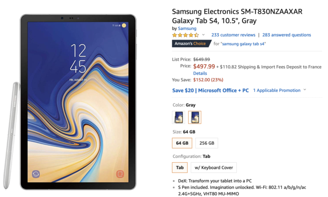 Samsung's Galaxy Tab S4 is down to $498 on Amazon ($152 off)