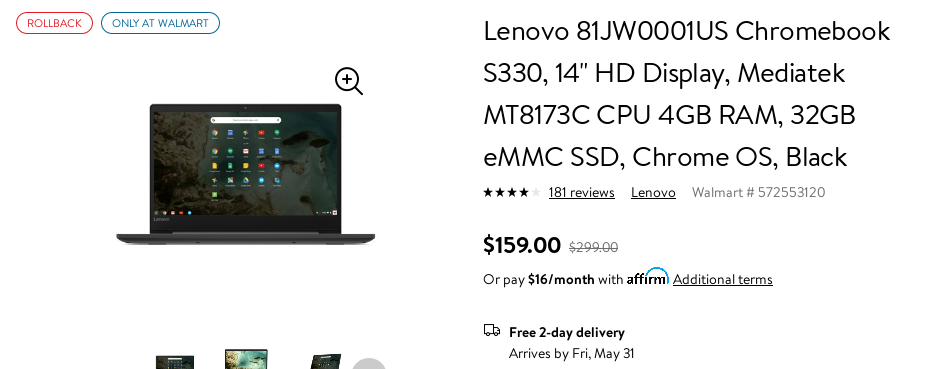 Lenovo's budget S330 Chromebook is just $160 ($90 off) right now