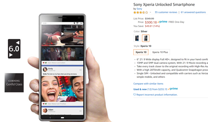 Sony's super-tall Xperia 10 marked down to $300 ($50 off) on Amazon