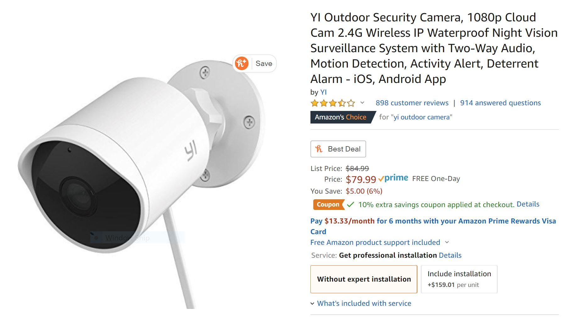 Yi Outdoor Camera on sale for $58 ($22 off) at Amazon