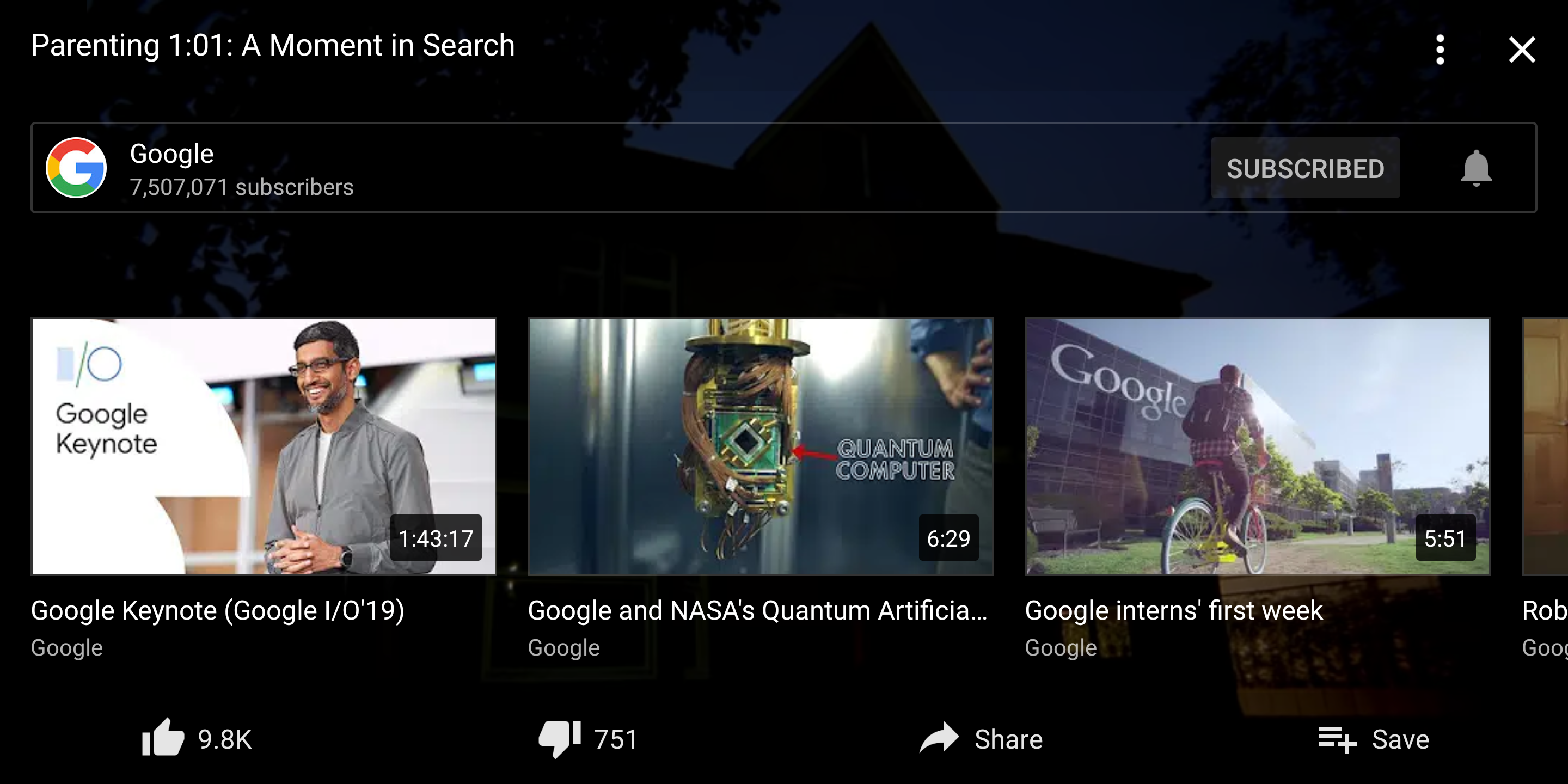 YouTube improves fullscreen playback UI with quick access to video and channel actions
