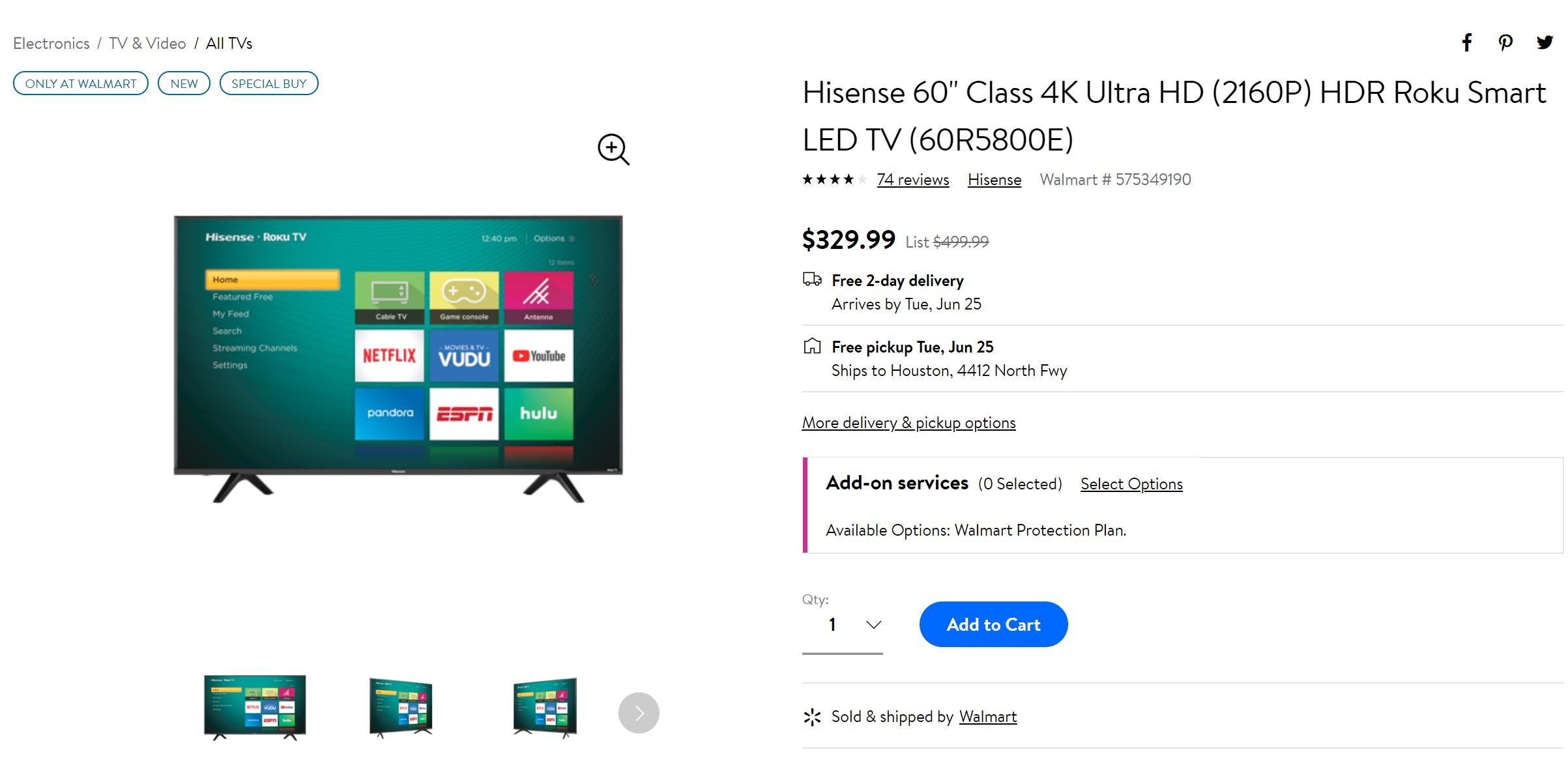 Grab a 60-inch Hisense Roku TV for just $330 ($170 off) at Walmart