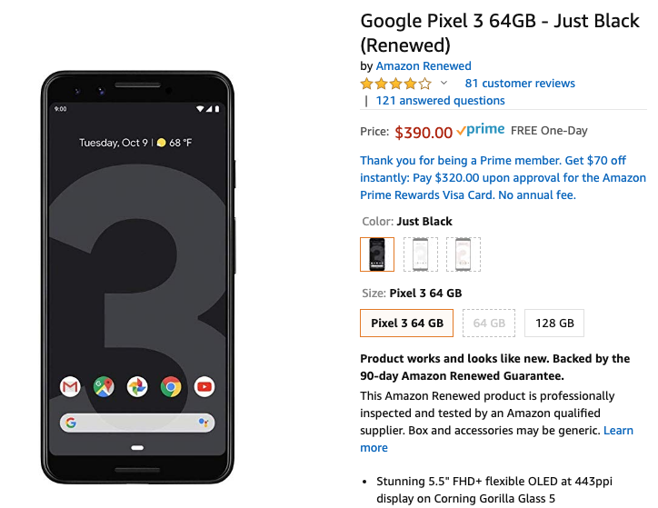 Refurbished Google Pixel 3 available for just $390 on Amazon