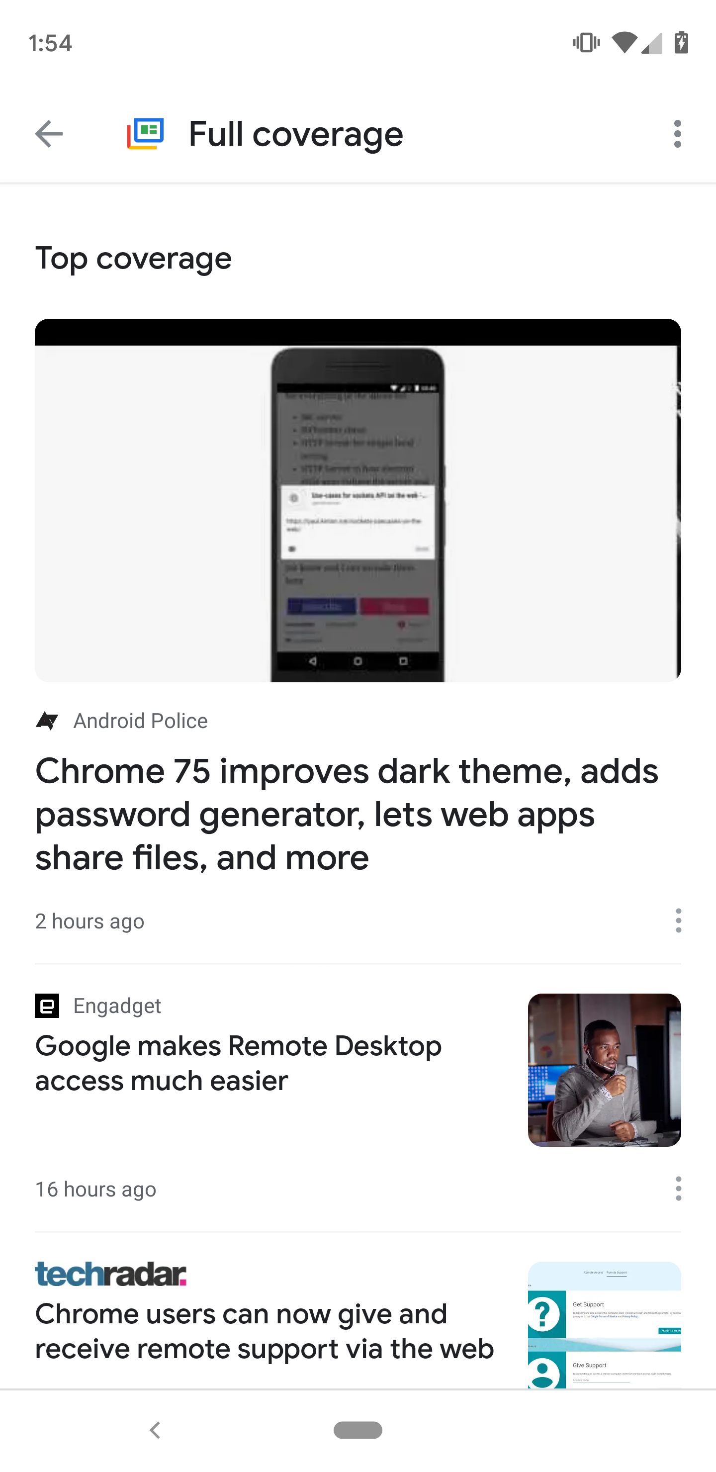 Google News v5 12 adds larger 'full coverage' button, moves
