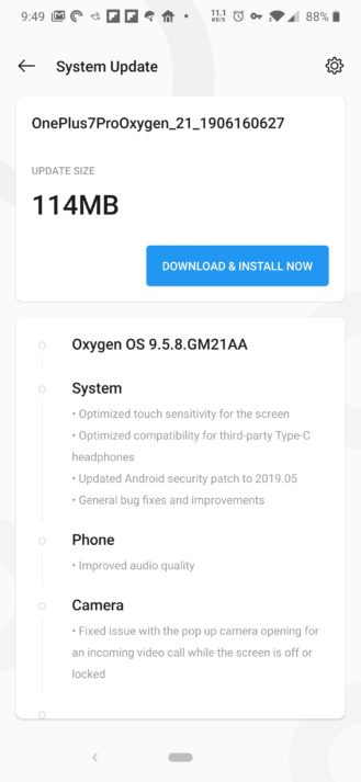 OxygenOS 9 5 8 update rolling out to OnePlus 7 Pro: More