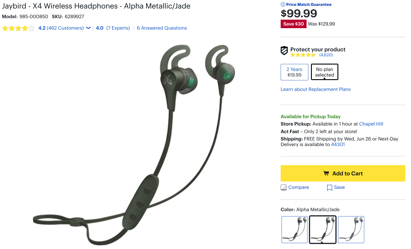 5f0b5d5464b You'll find the X4 at this price direct from Jaybird, as well as at Amazon,  Target, Best Buy, and probably anywhere else you can buy them.