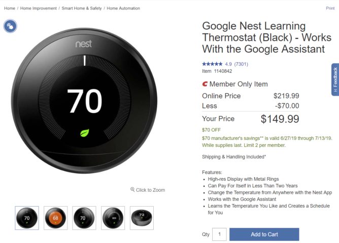 Costco Members Can Get A Nest Learning Thermostat For 150