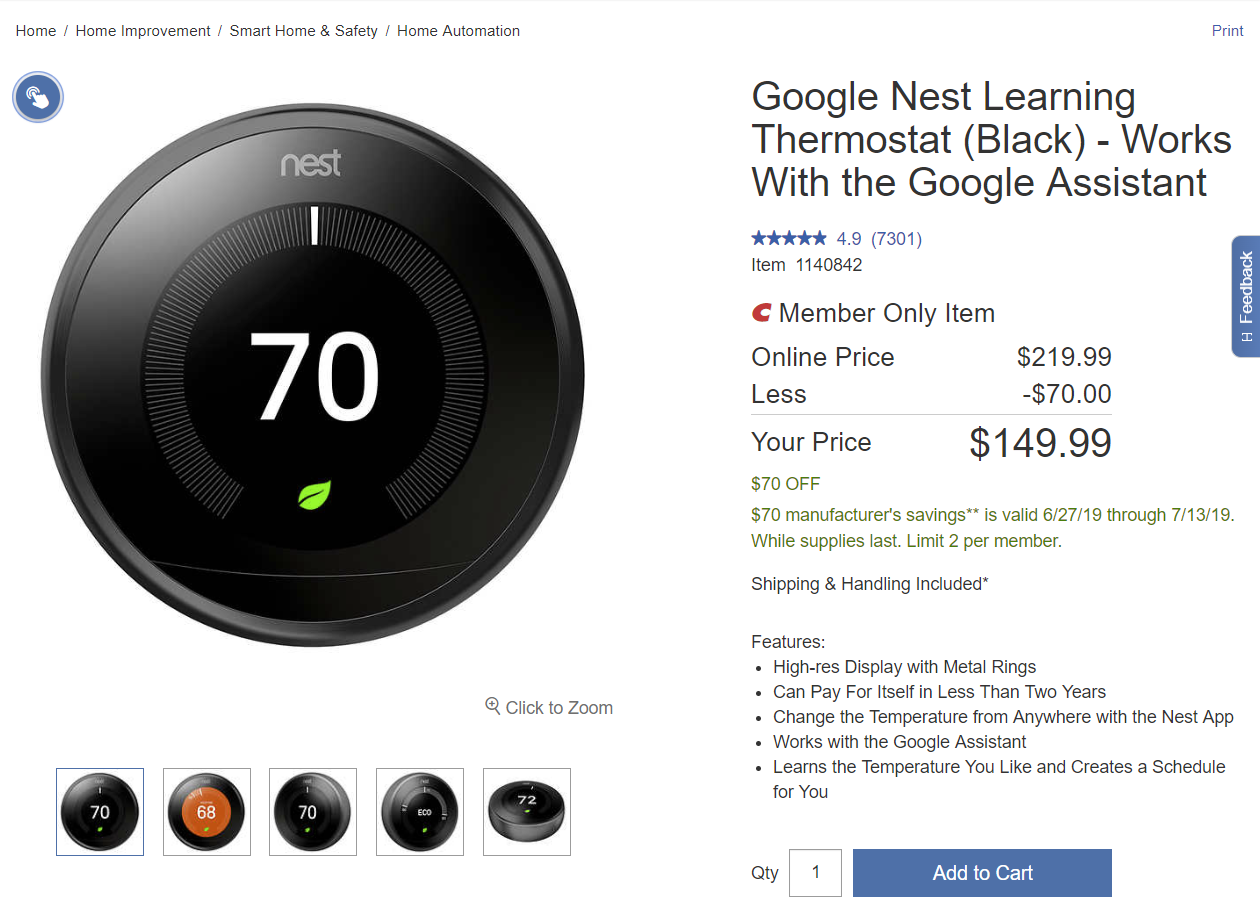Costco members can get a Nest Learning Thermostat for $150