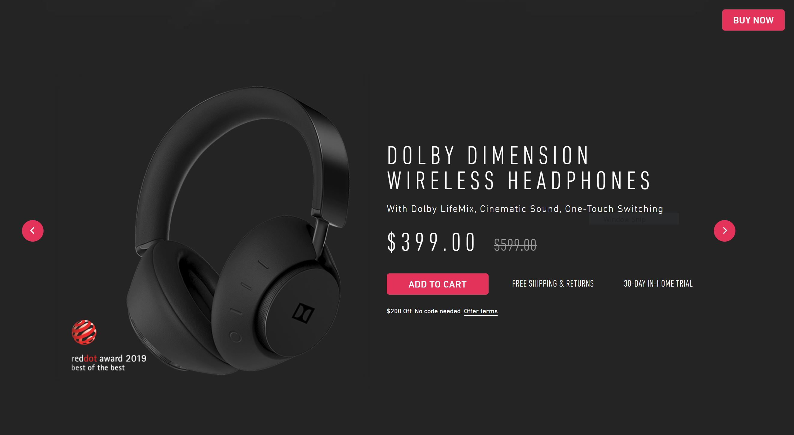 Grab a pair of wireless, noise-canceling Dolby Dimension headphones