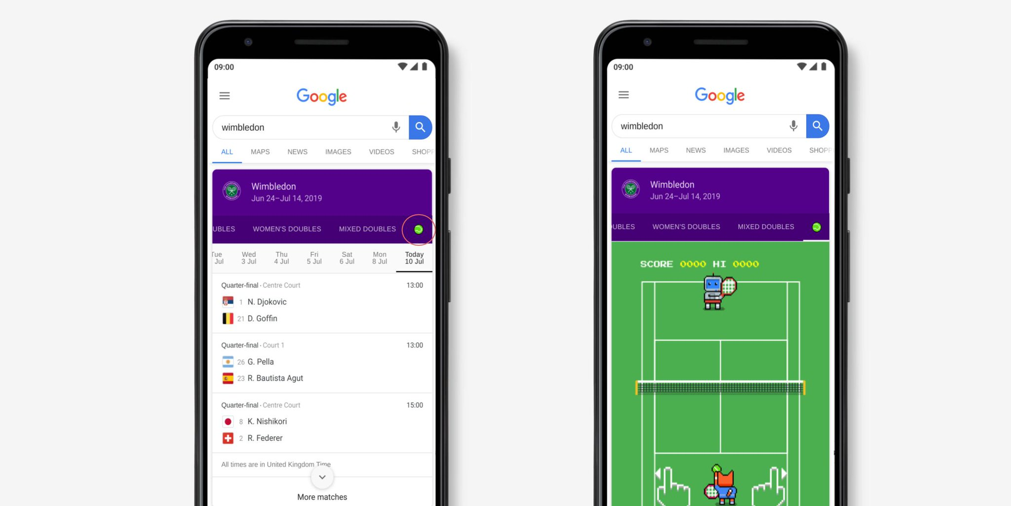 Google serves up tennis mini-game to mark 2019 Wimbledon tournament