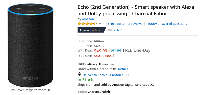 Get the latest Amazon Echo for 50% off ($50) today only, the
